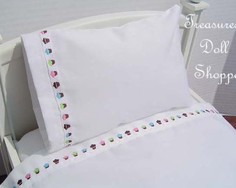 Doll Bedding 3 Piece Bed Linen Set for 18 Inch Sized Dolls - Sheet, Pillow, Pillowcase - Cupcakes