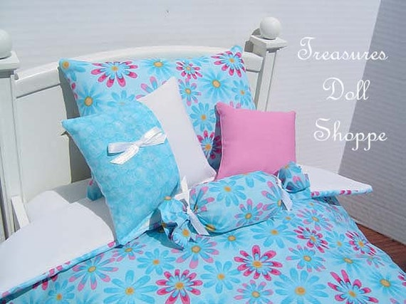 Doll Bedding  AMERICAN GIRL 5 Pc Set for 18 Inch Dolls - Blue and Pink Daisies on Blue