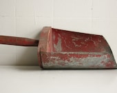 Reserved for Ruth Primitive red metal and wood grain or chicken feed scoop