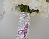 Bridal Bouquet Handle - Swarovski Crystal Bouquet Handle With Custom Initial - Beautiful Gift For A Bride