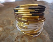 WHITE GOLD bracelet with gold tubes  66