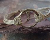 BRONZE RING Vintage bracelet with hammered ring (601)
