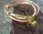 GOLD PEARLS leather wrap bracelet with gold beads