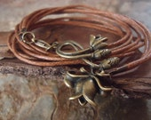 BRONZE HAZEL BLOSSOM wrap bracelet of bands