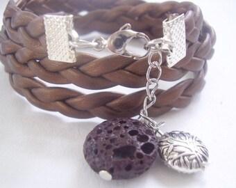 LAVA brown wrap bracelet with tree & Lava beads (390)