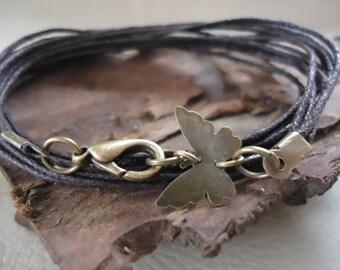 MARIPOSA in dark brown wrap bracelet & butterfly bronze Vintage (288)
