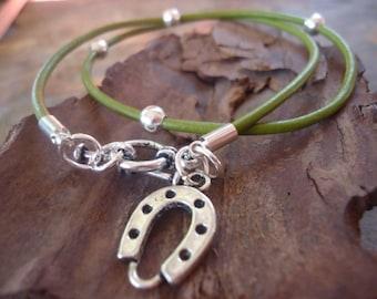GREEN LUCKY HORSESHOE leather wrap bracelet & necklace (272)
