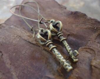 BRONZE KEY  XL Kidney Hooks,  Earrings (1220)
