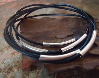 BLACK LEATHER BANGLES Bracelets set of 5 (119)