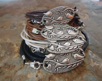 SILVER BIRDS  wrap bracelet in earthy tones (128)