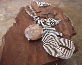 SILVER LEAF and Howlite NUGGET long, delicate chain