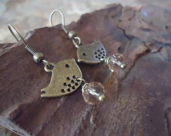BRONZE PIEPS & CRYSTAL earrings vintage jewelry (186)