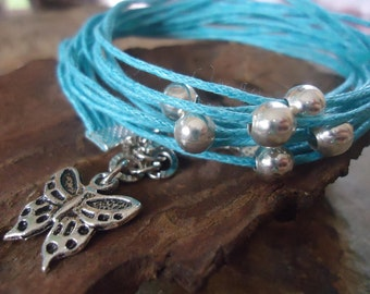 Turquoise BUTTERFLY  WRAP BRACELET  with silver beads (74)