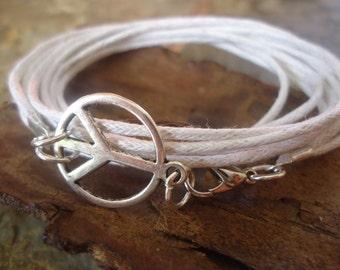PEACE hippie wrap bracelet with peace sign & straps (232)