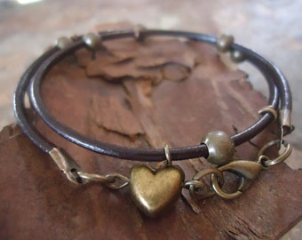 WILD HEART leather wrap bracelet  with stout heart 112