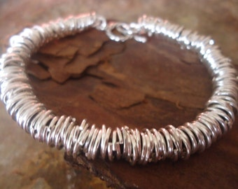 RINGED LEATHER dark brown leather  and silber rings bracelet (5)