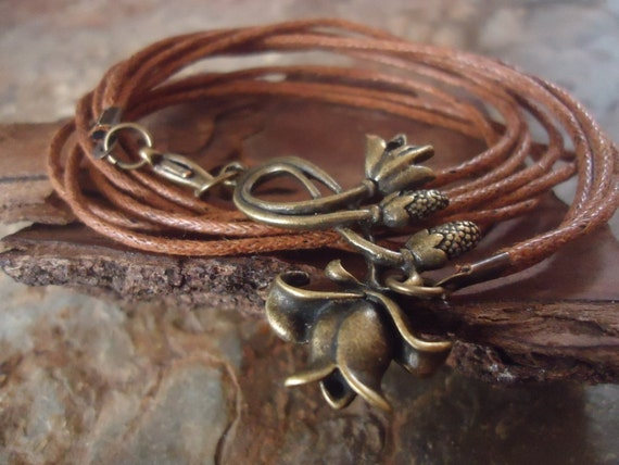 BRONZE HAZEL BLOSSOM wrap bracelet of bands