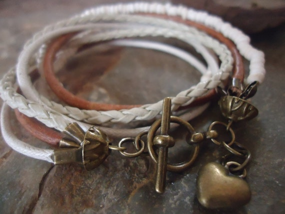 MEXCLA IN CAMEL and Bronze Leather wrap bracelet and coco pearls