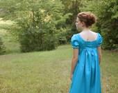 Aqua Regency Dress, Reenactment Costume, and Formal Ball Gown, Junior 5, Misses 4