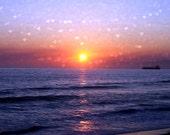 Heart bokeh sunset photography 8x12 fine art print landscape photo freighter beach photo dreamy surreal hearts