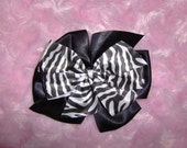 Animl Print Zebra Double Stacked Butterfly Bow Hair Clip for girl or Baby headbands hats Add Headband For A Dollar More