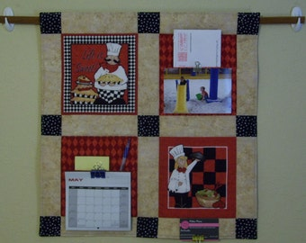 Quilted Wall Hanging- Pocket Organizer-Chefs Design