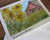 Original Watercolor Painting on Card of Sunflowers
