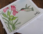 Watercolor Greeting Card of Hummingbird