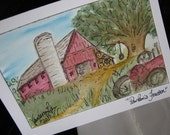 Watercolor Painting of Red Tractor on Card