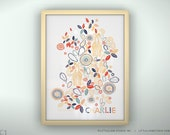 """Children's wall art custom baby name giraffe flowers art print kids wall art  - Unframed 11 3/4  x 15 3/4"""" - Zulu"""