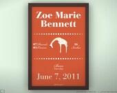 """Birth Announcement 8.5 x 11"""" - Queen Giraffe - Unframed Print"""