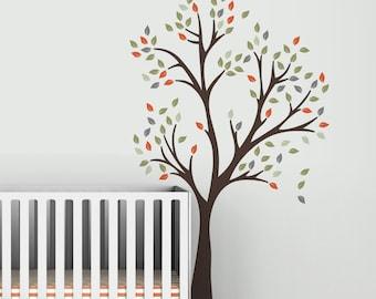 Joy Tree Wall Decal - Dark Brown, Orange, Green, Red, Yellow, Gray
