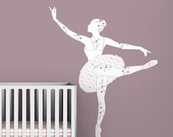 Kids wall decal ballerina silhouette white classic chic baby girl room decor  - Black Label Ballerina