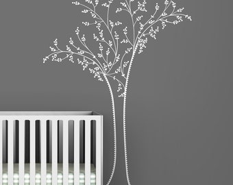 Kids wall decal classic white tree embroidery inspired chic white tree wall decal for kids rooms - Black Label Berry Tree