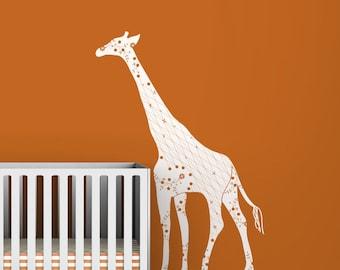 Kids wall decal white giraffe orange wall chic luxurious modern classic wall decor for kids rooms - Black Label Cornet Giraffe