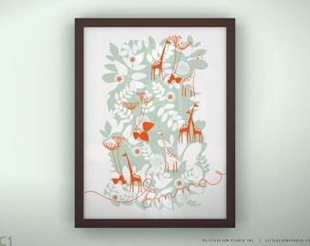 "Custom baby print name art wall decor baby nursery wall room prints - Unframed 11 3/4  x 15 3/4"" - Backyard"
