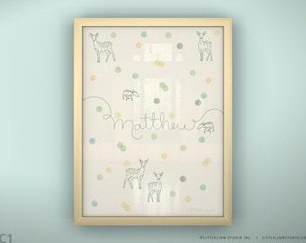 "Kids room wall art prin deer dots soft pastel wall art custom baby name art print - Unframed 11 3/4  x 15 3/4"" - Confetti"
