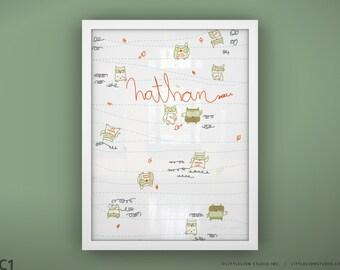 "Baby owl print custom hand lettered art print cute boyish owls - Unframed 11 3/4  x 15 3/4"" - Buddies"