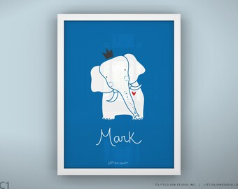 "Nursery art print elephant custom hand lettering name nursery decor children's wall art decor - Unframed 11 3/4  x 15 3/4"" - King Elephant"