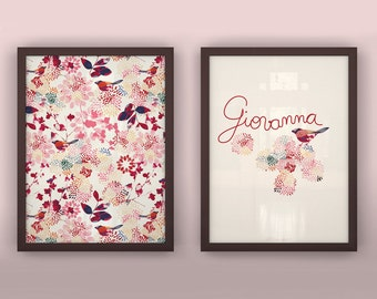 "Baby wall art custom print set floral birds hand lettered green red gray - Unframed  11 3/4  x 15 3/4"" - Mysteries"