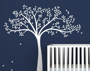 Tree Wall Decal Monochromatic Fall Tree Extended Gender Neutral Baby Nursery Decor
