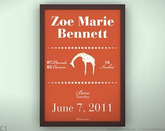 """Birth Announcement 11 3/4  x 15 3/4"""" - Queen Giraffe - Unframed"""