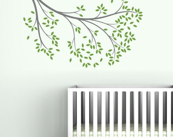 Reaching Branch Wall Decal - Different Tree Decal - Modern Baby Decor - Gray, Green, Lilac, Brown, Turquoise, White