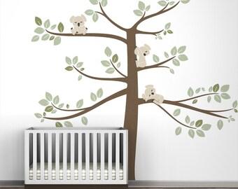 Kids wall decal large tree green koala wall decal decor for baby room - Koala Tree Extra Large
