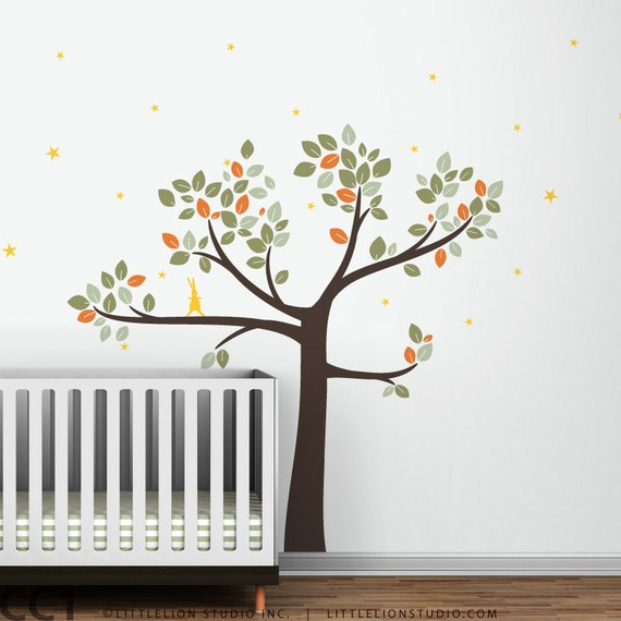 Follow the Little Rabbit Tree Wall Decal - Brown Tree decal & more colors