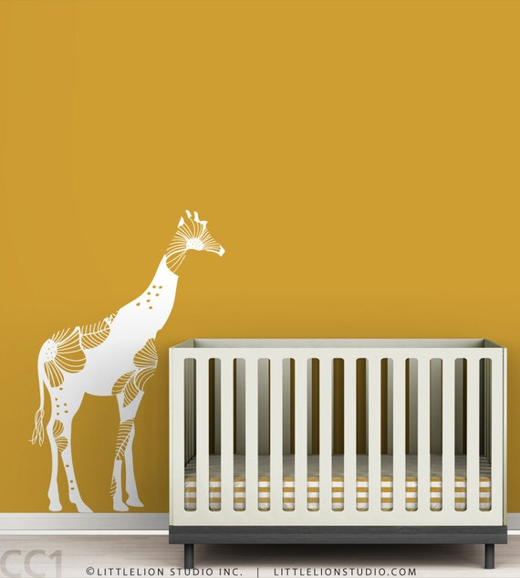 Baby Floral Giraffe Wall Decal - White decal - Bold floral - Modern baby nursery - Yellow, orange, white, beige, safari theme.