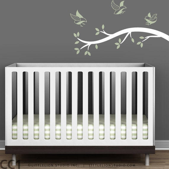 Polka Dot Birds Wall Decal - Cute baby wall decor - White, Gray, Green, Beige, Orange, Charcoal