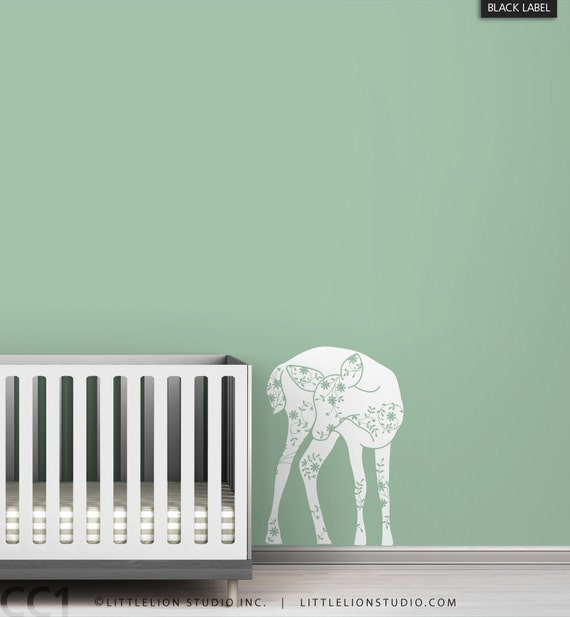 Kids wall decal fawn baby room white decor chic classic elegant special white wall decal room decor - Black Label Vineyard Fawn
