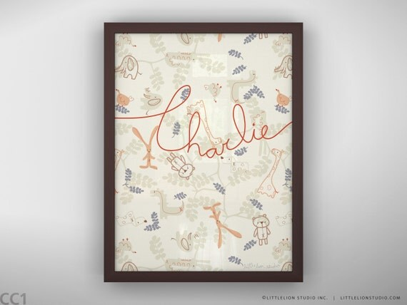 """Baby retro wall art print cute baby animals custom hand lettered baby name - Unframed 11 3/4  x 15 3/4"""" - Being Friends"""