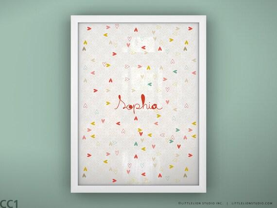 "Kids heart art print wall decor custom name art love print baby name - Unframed 11 3/4  x 15 3/4"" -  Heartbeat"